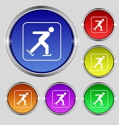 Ice skating icon sign Round symbol on bright vector image vector image