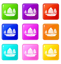 Junk boat icons 9 set vector