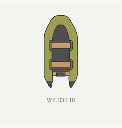 Line flat color fisher and camping icon vector