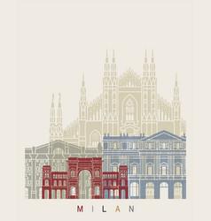 milan v2 skyline poster vector image vector image