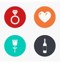 modern love colorful icons set vector image vector image