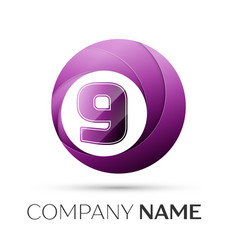 Number nine logo symbol in the colorful circle on vector