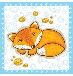 Print with sleeping cartoon fox vector image