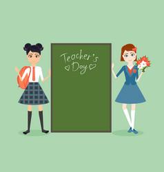 schoolgirl character cartoon flat vector image vector image