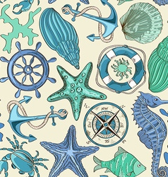 Seamless pattern of sea animals and nautical vector image vector image