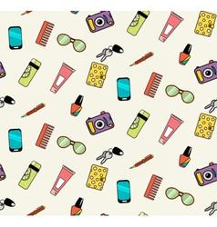 Seamless pattern of woman handbag contents vector