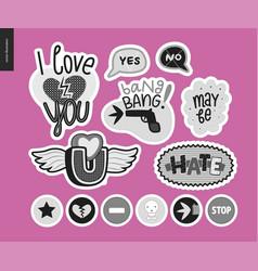 Set of contemporary girlie love letter logo vector