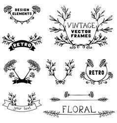 Set of simple floral design elements vector