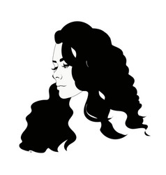 Silhouette of female head black and white vector