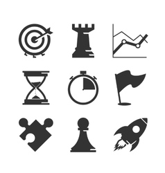 Strategy icons set vector