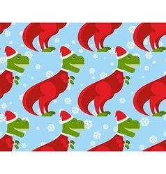 T-Rex Santa Claus seamless pattern Christmas vector image vector image
