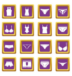 underwear items icons set purple vector image