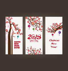 Vertical hand drawn banners set with blossom vector