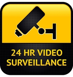 Video surveillance symbol punched metal surface vector image vector image