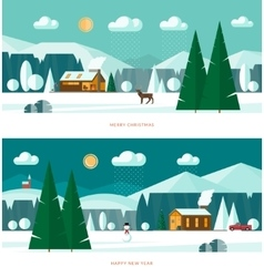 Winter landscape banners christmas backgrounds vector