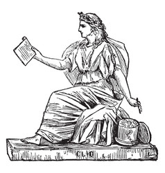 Woman sculpture of a woman holding a writing vector