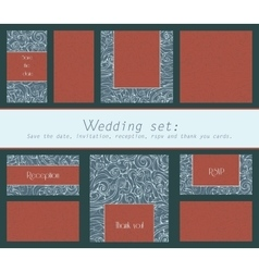 Set of wedding cards invitation thank you card vector