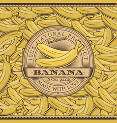 Vintage bananas label on seamless pattern vector