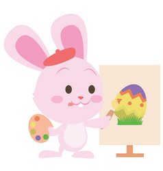 Pink bunny easter design style vector