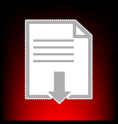 file download sign postage stamp or old photo vector image