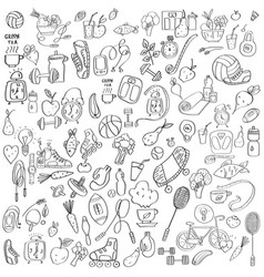 hand drawn sport equipment and food doodles vector image