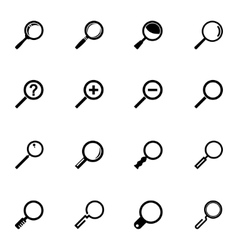 Black magnifying glass icons set vector