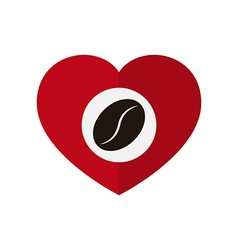 Coffee bean in love heart vector