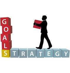 goals strategy man builds business blocks vector image