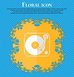 Gramophone vinyl floral flat design on a blue vector