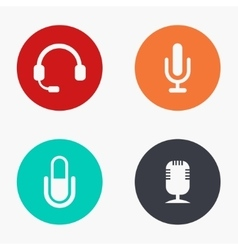 Modern microphone colorful icons set vector