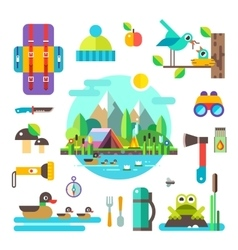 Set of hike elements and icons flat vector