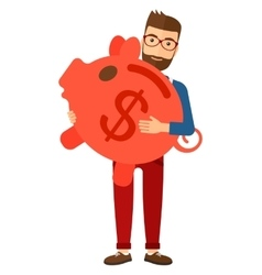 Man carrying piggy bank vector