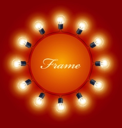 Round frame of light bulbs - theatre poster vector