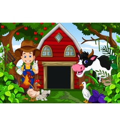 farmer at his farm with a bunch of farm animals vector image