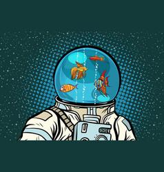 astronaut with helmet aquarium with fish vector image