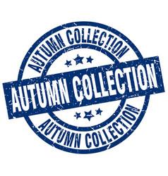 Autumn collection blue round grunge stamp vector