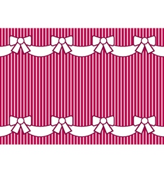 background striped pink with bows vector image