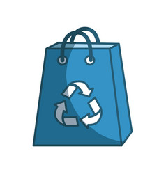 Blue bag with reduce reuse and recycle symbol vector
