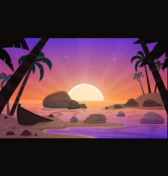 Cartoon sunset tropical beach vector