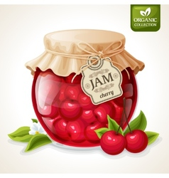 Cherry jam jar vector