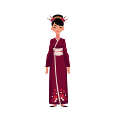 Chinese woman in traditional national costume vector