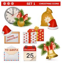 Christmas Icons Set 1 vector image vector image