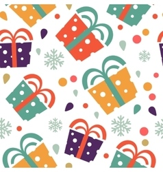 Christmas seamless pattern with colorful gift vector