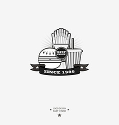 Fast food logo with ribbon vector image vector image
