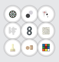 Flat icon play set of guess labyrinth lottery vector
