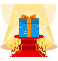 Gift on red carpet vector