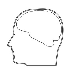 head with brain the black color icon vector image vector image