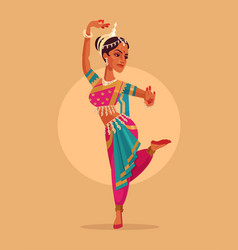 indian happy woman character dances vector image vector image