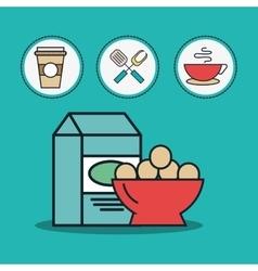 Milk box and eggs bowl vector