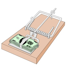 Mousetrap with money vector image vector image